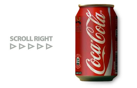 コーラの缶を回すアニメーション