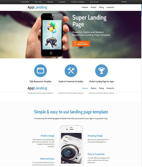 resiponsive template Landing-Page-iPhone-Android-App