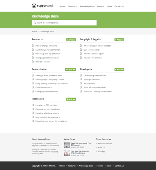 Support Desk - A Responsive Helpdesk Theme