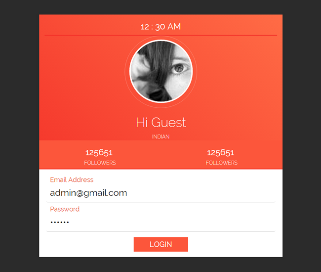 Red profile and login panel