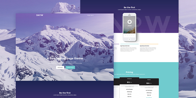 Snow - A Free Bootstrap Landing Page Theme