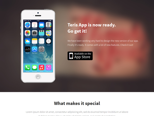 Teris Bootstrap iPhone App Landing Page
