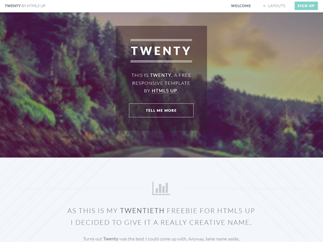 Twenty – Free Responsive Multipage HTML5 Website