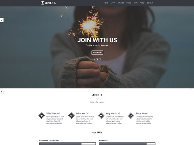 Unika One Page Portfolio Bootstrap Template