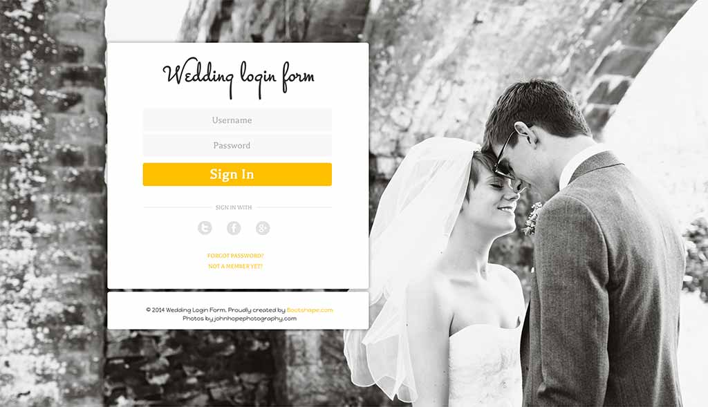 Wedding login form
