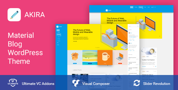 Akira - Material Design Blog & Shop WordPress Theme