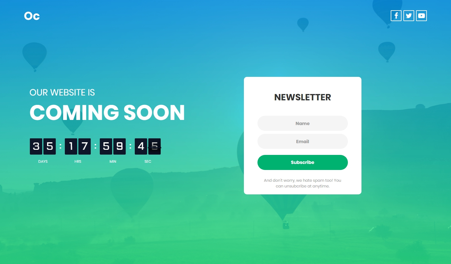 Coming Soon Template by Colorlib V06